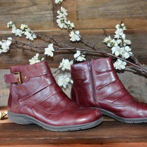 Clarks red burgundy leather Christine ankle boots